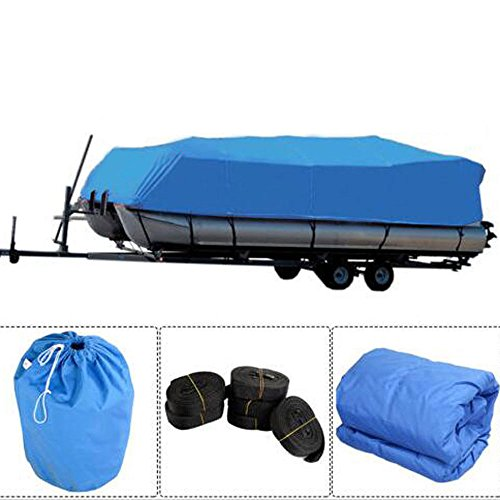 Simply-Me Boat Cover 17-20 ft Oxford Fabric Waterproof Boat Covers Pontoon Runabout Boat Cover with Storage Bag,Blue