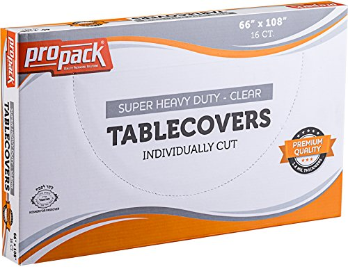 Propack Disposable Heavy Weight Clear Plastic Tablecovers Individually Cut SIZE: 66'' x 108'' 16 Precut Tablecloth In A Box