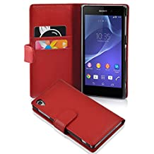 Cadorabo - Book Style Wallet Design for Sony Xperia Z2 with 2 Card Slots and Money Pouch - Etui Case Cover Protection in CANDY-APPLE-RED