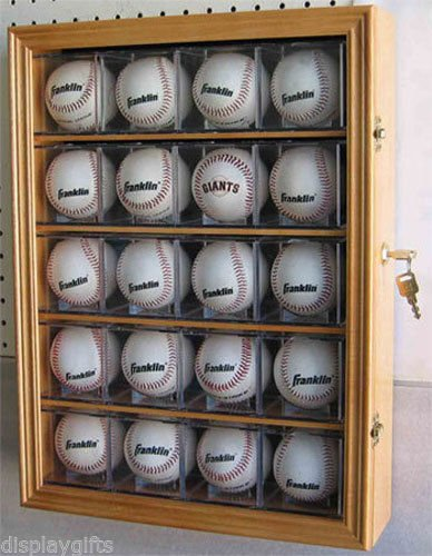 Oak 20 Baseball Display Case Shadow Box Cabinet, UV Protection, Lock U0026 Key
