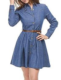 Allegra K Women's Long Sleeves Belted Flared Above Knee Denim Shirt Dress