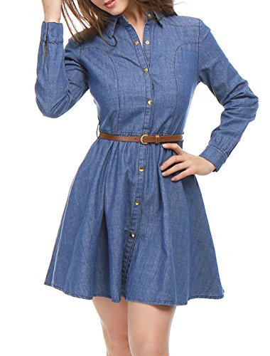 Allegra K Women's Long Sleeves Belted Flared Above Knee Denim Shirt Dress XS Blue