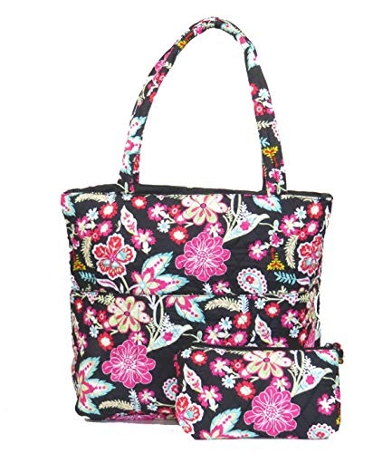 (EGFAS Quilted Tote Bag with Pouch (Floral Black Multi))