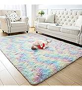 Zareas Soft Rainbow Area Rugs for Girl Room Bedroom, Cute Fluffy Rug Colorful Shag Furry Fuzzy Ca...
