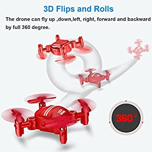 Drone for Kids Headless Mini RC Quadcopters Foldable Remote Control Helicopter Drones 2.4Ghz 6-Axis Gyro 4 Channels Indoor Flying Airplane With 3D Flip One Key Return for Beginner Drone Training (Red) by ZH Electrinic Co ., Ltd