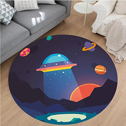 Nalahome Modern Flannel Microfiber Non-Slip Machine Washable Round Area Rug-Cartoon Like Image with UFO Spaceship Beam of Light Planets Sun Artwork Print Multicolor area rugs Home Decor-Round 43