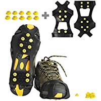 Ice Cleats, Willceal Ice Grips Traction Cleats Grippers Non-slip Over Shoe/Boot Rubber Spikes Crampons Anti Slip 10 Steel Studs Crampons Slip-on Stretch Footwear (Extra 10 Studs