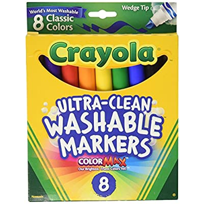 Crayola Washable Wedge Tip Markers, Assorted Colors, Box Of 8: Toys & Games