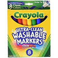 Binney & Smith Crayola(R) Washable Wedge Tip Markers, Assorted Colors, Box Of 8