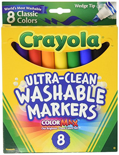 - Crayola Washable Wedge Tip Markers, Assorted Colors, Box Of 8