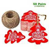 G2PLUS Christmas Tree Gift Tags with String, 100 PCS Personalized 'Merry Christmas' Paper Hang Tags, Party Favor Tags, Gift Tag with 100 Feet Natural Jute Twine (Red)