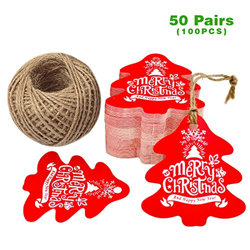 Christmas Tree Gift Tags with String, G2PLUS 100 PCS Personalized Merry Christmas Paper Hang Tags, Party Favor Tags, Gift Tag with 100 Feet Natural Jute Twine (Red)