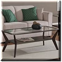 Vintage Espresso Antique Silver Rectangular Coffee Table For Your Living Room Or Dinning Area.