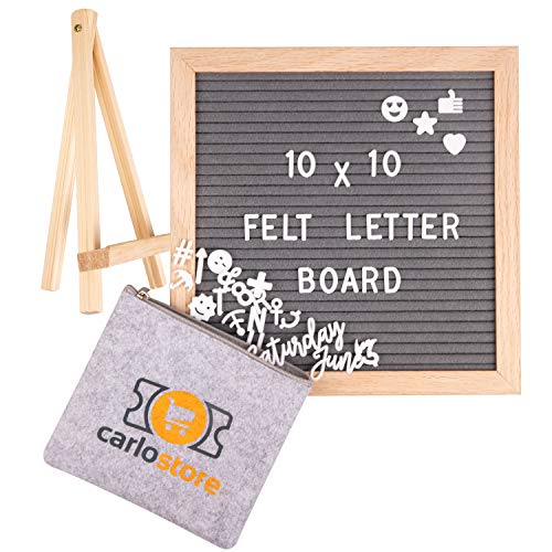 (Felt Letter Board with Letters - Message Sign Changeable 10x10 Gray Felt letterboard with 460 White Letters, Numbers and Symbols Bonus Cursive Week & Month Standing and Wall Display+Pouch Storage Bag)