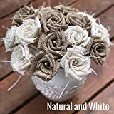 Burlap Flowers with Stem 6 white, 6 natural (12 total) Burlap Rose Flowers with Stem Wedding Decor Flowers Rustic Bouquet with Wooden Stems Review