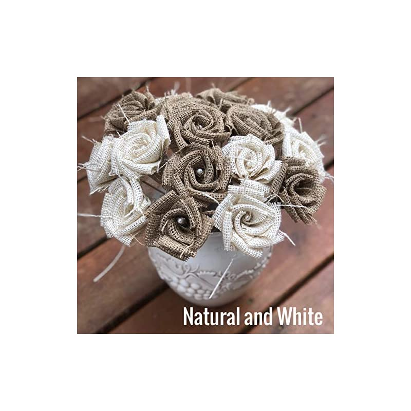 silk flower arrangements burlap flowers with stem 6 white, 6 natural (12 total) burlap rose flowers with stem wedding decor flowers rustic bouquet with wooden stems