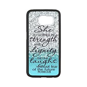 Samsung Galaxy S6 Case -Samsung Galaxy S6 Case Cover - She is Clothed with Strength & Dignity She Laughs without Fear of the Future Proverbs 31:25 - Bible Verse Blue Sparkles Glitter Samsung Galaxy S6 TPU (Laser Technology) Case Rubber Sides Shell
