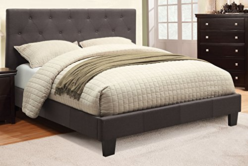 corbin modern charcoal gray finish eastern king size flax fabric bed frame set - Eastern King Bed Frame