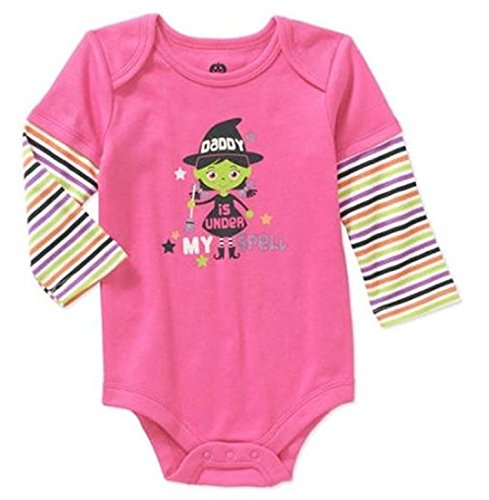 [Assorted Witch, Pumpkin, Cat Baby Boys & Girls Halloween Bodysuit Dress Up Outfit (0-3 Months, Pink - Daddy is Under My] (Halloween Outfits Ladies)