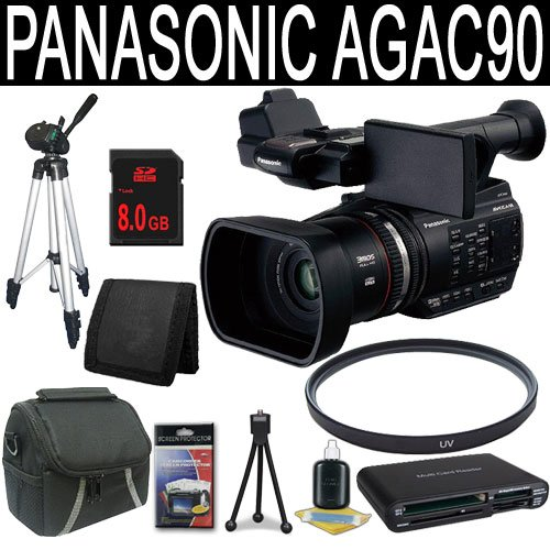 Panasonic AG-AC90 AVCCAM Handheld Camcorder + 8GB SDHC Class 10 Memory Card + 49mm UV Filter + Carrying Case + Full Size Tripod + Multi Card USB Reader + Memory Card Wallet + Deluxe Starter Kit