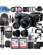 $1074 » Sony Alpha a6400 Mirrorless Digital Camera 24.2MP Sensor with 16-50mm Lens, 2 Pack SanDisk 32GB Memory Card, Backpack, Full Size Tripod & A-Cell Accessory Bundle (Black)