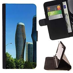 BullDog Case - FOR/HTC Desire 820 / - / Architecture Modern City Towers /- Monedero de cuero de la PU Llevar cubierta de la caja con el ID Credit Card Slots Flip funda de cuer