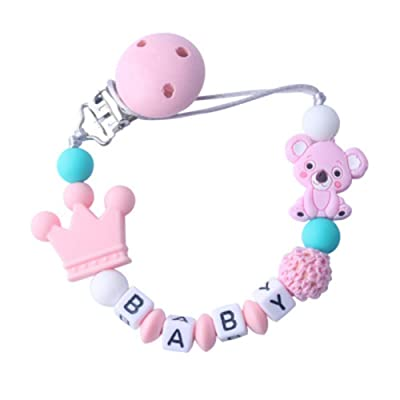 Cartoon Infant Molar Toy, Animal Koala Teeth Gel Pacifier Chain, Newborn Baby Silicone Nipple Clip Teether Toy (Pink, One Size): Home & Kitchen