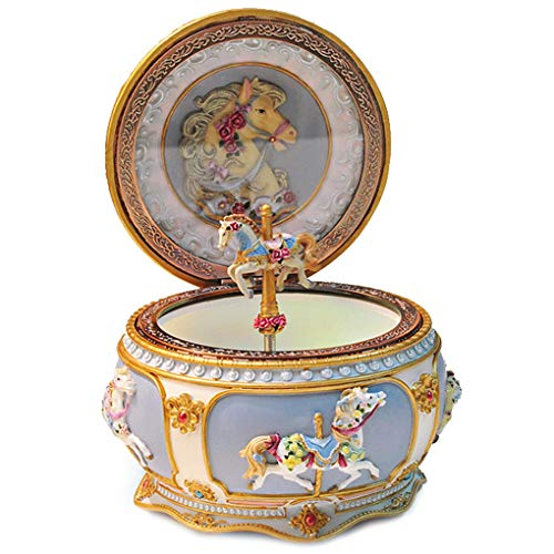 - Amperer Classical Carousel Horse Music Box LED Lights Twinkling Resin Carved Collectible Mechanical Musical Box with Sankyo 18-Note A Horse Rotates with Music