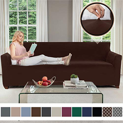 Gorilla Grip Original Velvet Fitted 1 Piece Oversized Sofa Slipcover, Stretch Up to 78