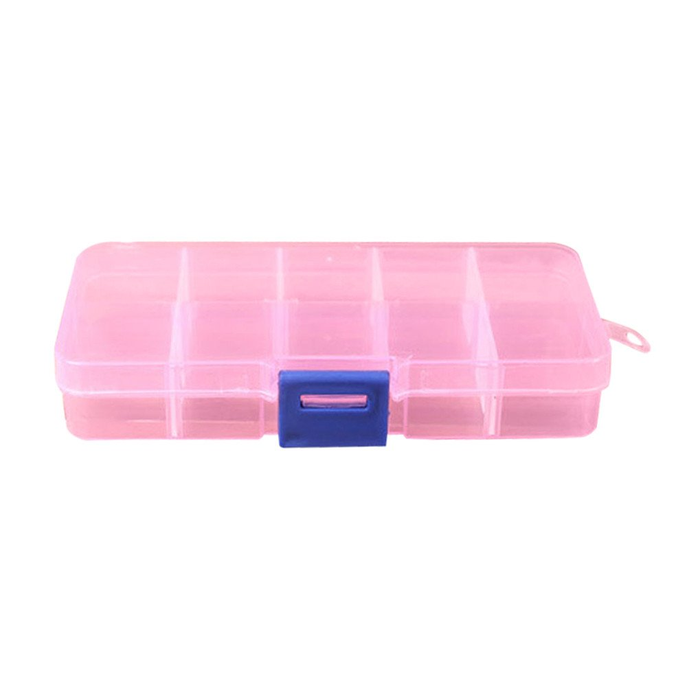 DATEWORK 10 Grids Adjustable Jewelry Beads Pills Nail Art Tips Storage Box Case