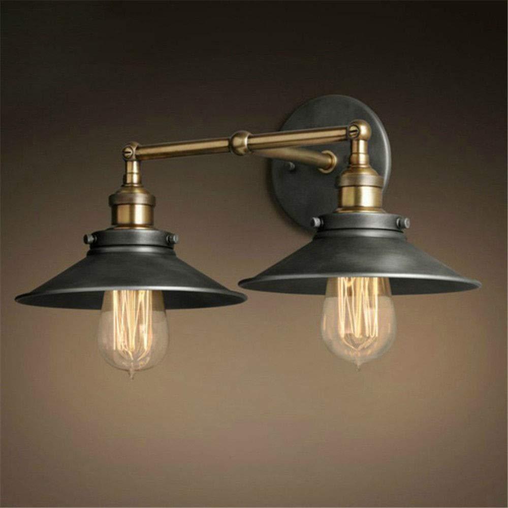 Modernes Design American Vintage 2 KöPfe Wandleuchte Innenbeleuchtung Nachttischlampen Doppelwandleuchten FüR Home 110V   220V E27