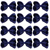 4 Inch Boutique Girls Hair Bows Hair Clips For Baby Girls Toddlers 12 Pcs Solid Color (Navy blue)