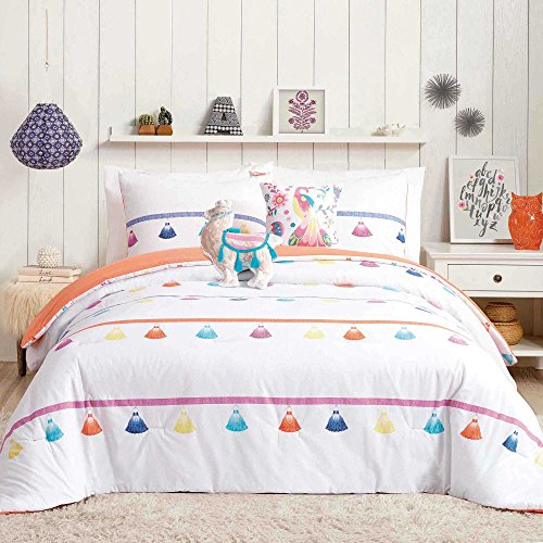 Trendy, Cute, Multicolor Painted Tassel 4-Piece FULL/QUEEN Comforter Set in Coral Features Camel Shape and Peacock Print Throw Pillows by Urban Playground by Urban Play