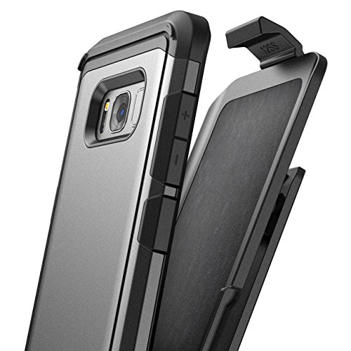 Encased Belt Case for Galaxy S8 Plus (Heavy Duty - Mil Spec) Dual Layer Hybrid Protective Cover with Rugged Holster Clip (Samsung S8+) (Gunmetal Grey)