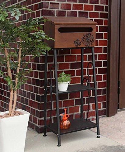 2段棚付木製スタンドポストダークブラウン鍵穴付脚部スチールswenee B01CHKE402 18000