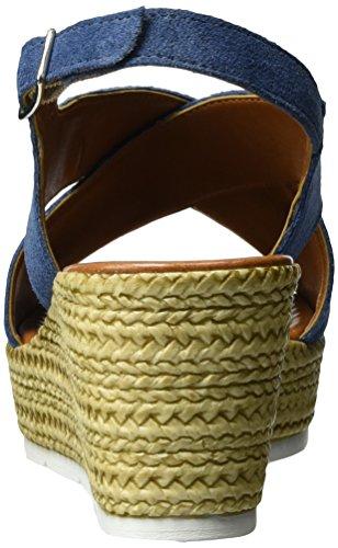 Marco Tozzi Premio 28362, Sandalias con Cuña para Mujer Azul (Denim 802)