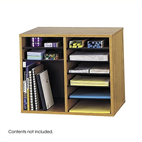 Scranton & Co 12 Compartment Adjustable File Organizer in Medium Oak