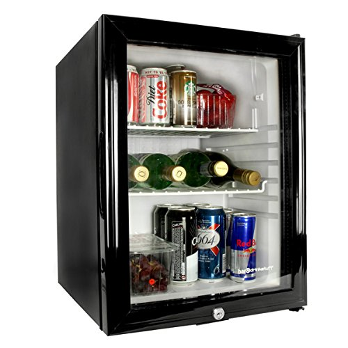 bar@drinkstuff Frostbite Glass Door Mini Bar 35ltr - Counter Top Fridge with Lock, Suitable for Milk Overnight [Energy Class B]