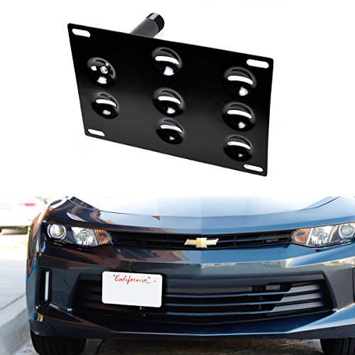 iJDMTOY Front Bumper Tow Hole Adapter License Plate Mounting Bracket For 2016-up 6th Gen Chevrolet Camaro