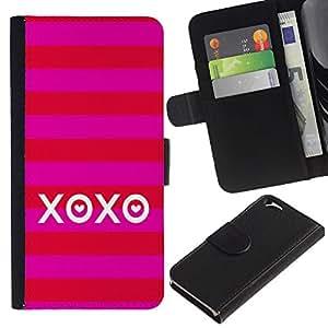 Planetar® Modelo colorido cuero carpeta tirón caso cubierta piel Holster Funda protección Para Apple (4.7 inches!!!) iPhone 6 ( Amor Besos verano raya rojo)