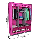 Kurtzy Portable Clothes Closet Plastic Wardrobe with 6 Fancy Cabinet Organizer Rack and 2 long Durable Multipurpose Foldable Cupboard Shelves Collapsible Cabinet
