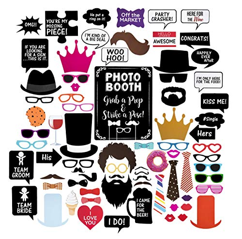 Wedding Photo Booth Props - Set with Chalkboard Style Black Sign, Wooden Sticks and Stand | 75 -