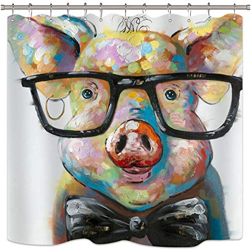 Riyidecor Watercolor Pig Shower Curtain Portrait Animal Funny Cool Colorful Vintage Oil Painting Hipster Cute Decor Fabric Set Polyester Waterproof 72x72 Inch 12-Pack Plastic Hooks ()