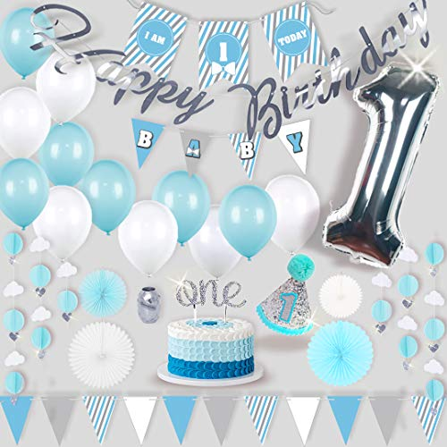 Premium 1st Birthday Boy Decorations | Blue, White, Silver, Grey First Birthday Boy Decorations Set | First Birthday Decorations Complete Kit | Boy 1st Birthday Decorations ()