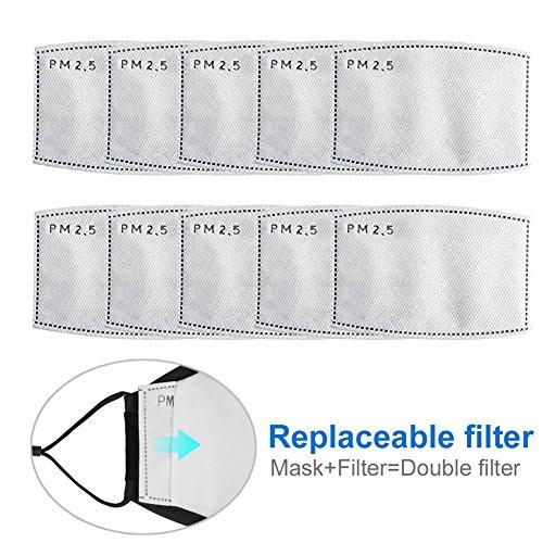 10 pièces de filtre à air pour JKJK N95 N99 anti masque de pollution de la poussière et de fumée d'air lavable masques PM2.5 avec filtre à 5 couches