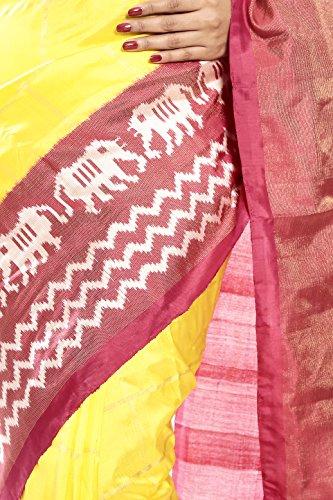 Mandakini — Indian Women's Pochampally - Handloom - Ikat Pure Silk Saree (Yellow ) (MK315) by Mandakini (Image #3)