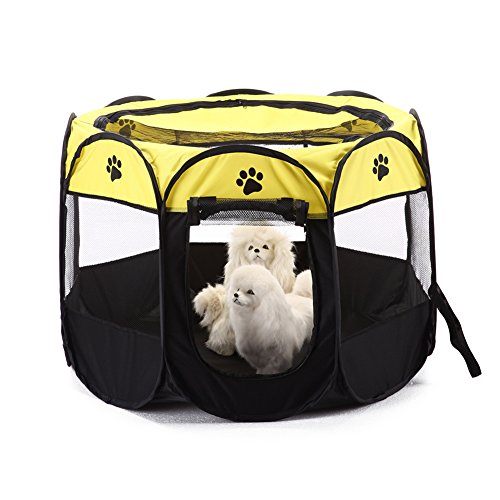 (MaruPet Pet Gear Travel Lite Octagon Pet Pen with Removable Top for Cats and Dogs Yellow M)