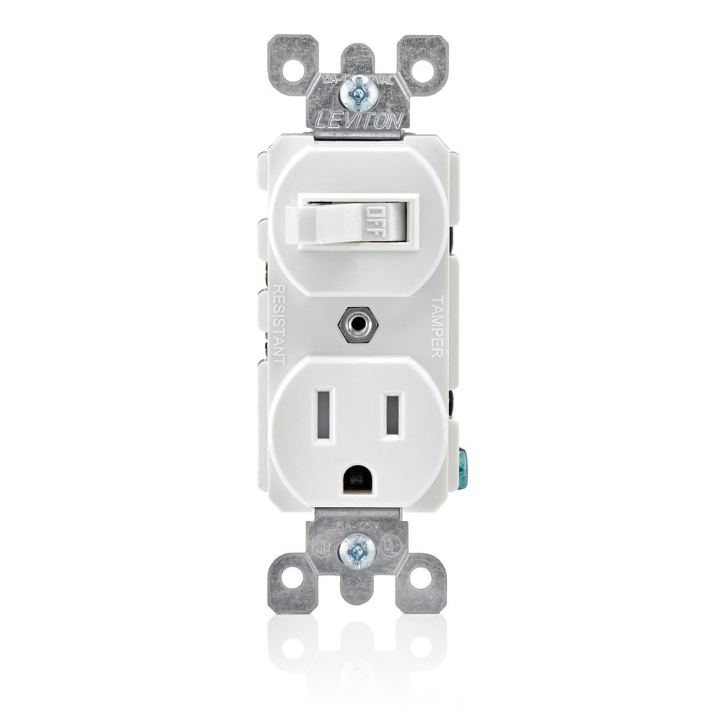 Leviton T5225 I Combination 15 Amp 120 Volt Ac Toggle Switch And Ivory Electrical Outlets Light Switches 15a Gfi Outlet 125 5 15r Tamper Resistant Receptacle Grounding Wall