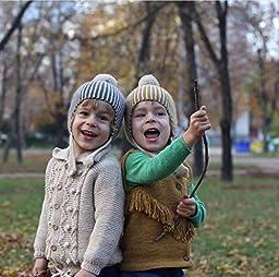 Ahyuan Baby Girls Warm Winter HatKid Suits Crochet Caps 2-6t (Stripe Ginger)