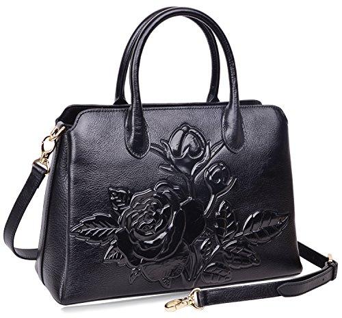 2595c4e07e PIJUSHI Top Handle Satchel Handbag For Women Floral Purses Genuine Leather  Shoulder Bag
